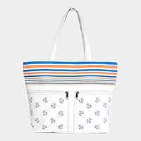 Striped anchor beach tote bag with front pockets