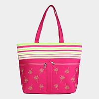 Striped palm tree beach tote bag with front pockets