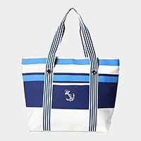 Striped anchor beach bag
