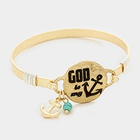 'God is my anchor' message charm bracelet