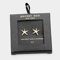 Secret box _ 14K gold dipped CZ starfish Climber Earrings