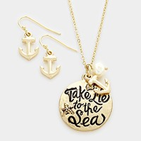 'Take me to the sea' pendant necklace
