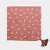Dragonfly print square bandana scarf with double tassel