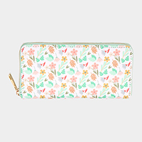 Flower Leaf Pattern Print Zipper Wallet