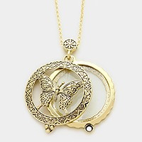 Magnifying glass locket butterfly pendant long necklace