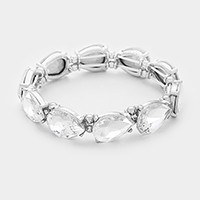Glass Crystal Teardrop Stretch Bracelet