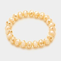 Faceted Round Beads Stretch Bracelet