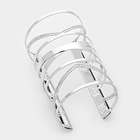 Twisted metal cage cuff bracelet
