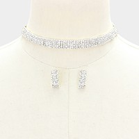 Multi-row rhinestone choker necklace