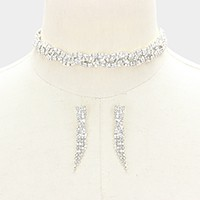 Twisted rhinestone choker necklace