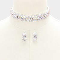 Rhinestone bubble choker necklace with clip on earrings