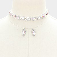 Rhinestone trim glass crystal marquise choker necklace