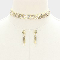 Multi-row rhinestone bubble choker necklace