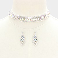 Rhinestone bubble lace choker necklace
