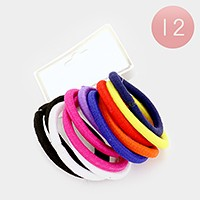 12 Sets - basic thick ponytail hair bands