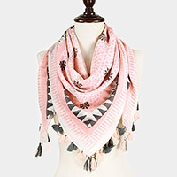 Aztec pattern square cotton scarf with tassels
