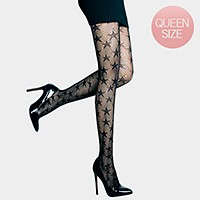 Black star pattern pantyhose tights