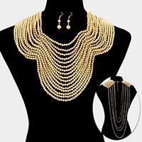 Draped multi-strand pearl bib necklace