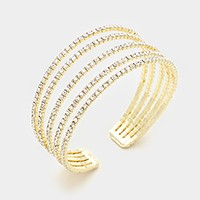 5-Row split layer rhinestone cuff bracelet