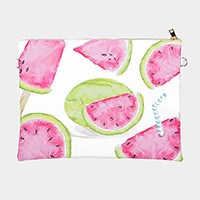 Watermelon _ Faux saffiano zip clutch bag with strap