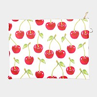 Cherry _ Faux saffiano zip clutch bag with strap