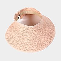 Roll up straw lace visor hat