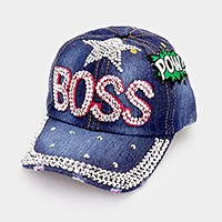 Boss bling brim denim patch baseball cap