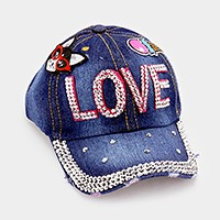 Love bling brim emoji denim patch baseball cap