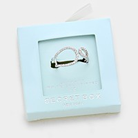 Secret Box _ 24K white gold dipped CZ open ring