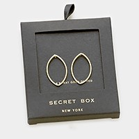 Secret box _ 14K gold dipped marquise hoop stud earrings