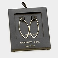 Secret box _ 14K gold dipped marquise hoop earrings