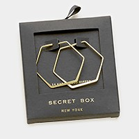 Secret box _ 14K gold dipped hexagon hoop earrings