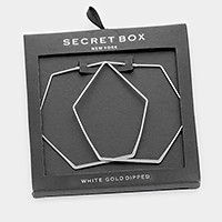 Secret box _ White gold dipped hexagon hoop earrings