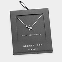 Secret box _ White gold dipped CZ starfish pendant necklace