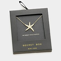 Secret box _ 14K gold dipped CZ starfish pendant necklace