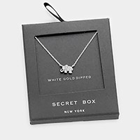 Secret box _ White gold dipped CZ elephant pendant necklace
