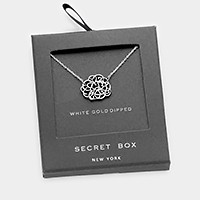 Secret box _ White gold dipped metal pendant necklace