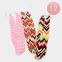 12 PCS - Chevron pattern chiffon scarf necklaces
