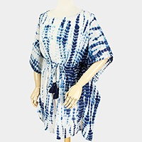 Drawstring tie dye kimono tunic top with tassels