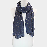 Metallic anchor print scarf