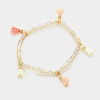 Tassel station glass cube bead strand stretch bracelet
