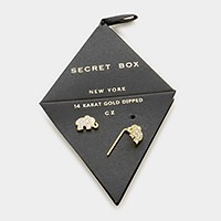 Secret Box _ 14K gold dipped CZ elephant stud pin earrings