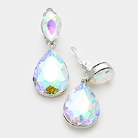 Glass crystal double teardrop clip on earrings