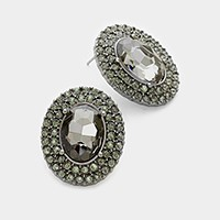 Pave trim oval glass crystal earrings