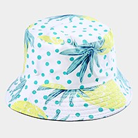 Reversible pineapple polka dot bucket hat