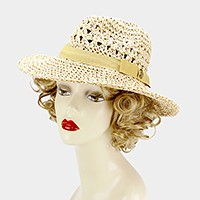 J ribbon straw fedora sun hat