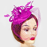 Feather & Curly Bow Birdcage Veil Fascinator