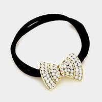 Crystal bow ponytail hair band