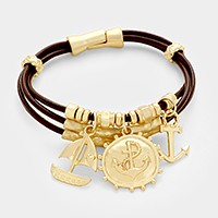 Anchor & sailing boat charm triple leather cord magnetic bracelet