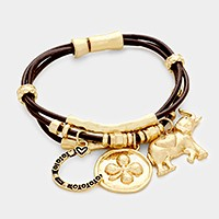 Clover & elephant charm triple leather cord magnetic bracelet